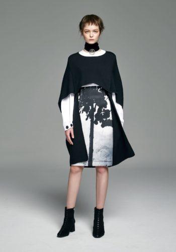 美麗諾羊毛造型針織斗篷/棉質彈性反折袖上衣/影像系列-庭園 潛水布高腰窄裙