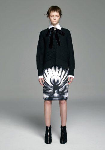拉鍊側開叉羊毛粗針織上衣/棉質彈性高領襯衫/影像系列-廣場 潛水布高腰窄裙