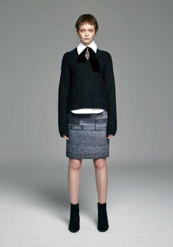 小高領羊毛粗針織上衣/棉質彈性高領襯衫/影像系列-無言 潛水布高腰窄裙