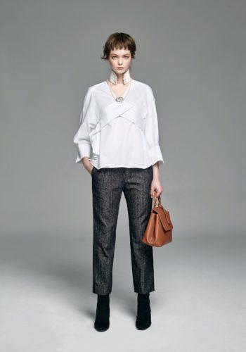 棉質彈性V領上衣/人字紋羊毛直筒西裝褲