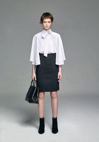 棉質彈性造型飄袖襯衫/人字紋羊毛高腰窄裙