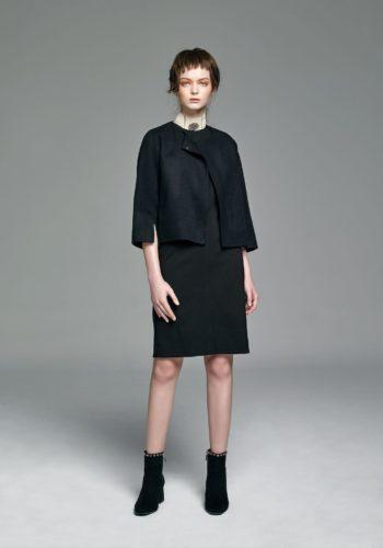 彈性剪接合身背心洋裝/喀什米爾短版外套