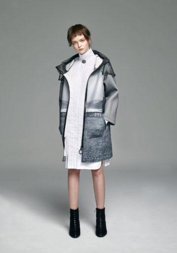 影像系列-無言 潛水布長版連帽外套/棉質彈性壓折襯衫式洋裝