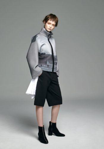 棉質彈性壓折襯衫式洋裝/彈性寬版及膝褲/影像系列-無言 潛水布拉鍊外套