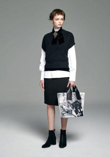棉質彈性奶嘴釦襯衫/羊毛粗針織落肩背心/彈性高腰窄裙