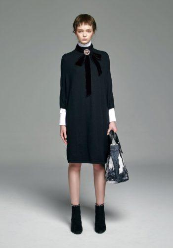 美麗諾羊毛連袖針織洋裝/棉質彈性壓折襯衫式洋裝