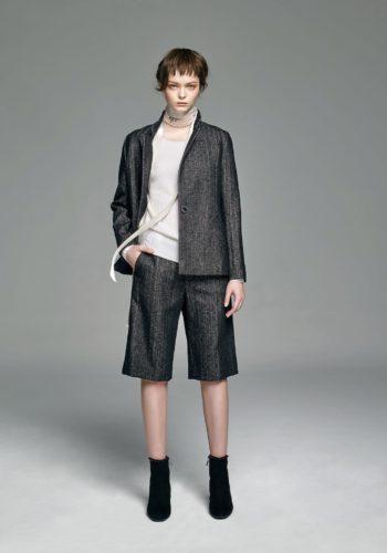 喀什米爾圓領針織上衣/人字紋羊毛外套/人字紋羊毛直筒及膝褲