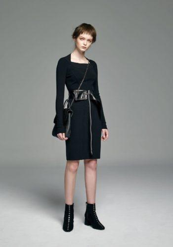 造型拼接緊身羊毛針織洋裝