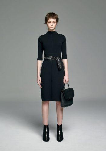 五分袖緊身羊毛針織洋裝