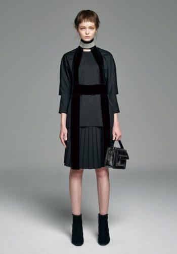 羊毛開口袖上衣/羊毛高腰百摺裙