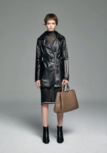 超薄羊皮長版夾克/黑色緊身空花針織洋裝
