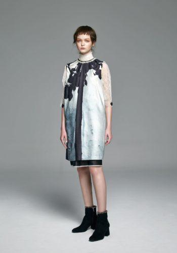 影像系列-庭園 絲棉背心洋裝/縫珠蕾絲抓皺上衣