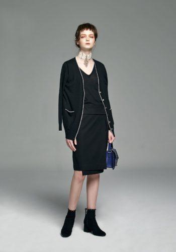 喀什米爾針織黑白拼色開襟衫/喀什米爾針織V領上衣/前開叉不對稱直裙