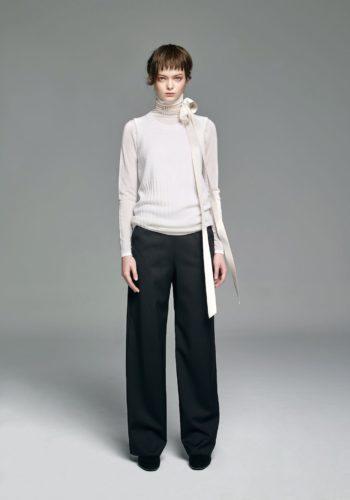 超薄喀什米爾針織高領上衣/喀什米爾針織羅紋背心/小羊毛寬版西裝褲