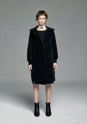羊毛圓領針織洋裝/小羊毛大翻領繭形大衣
