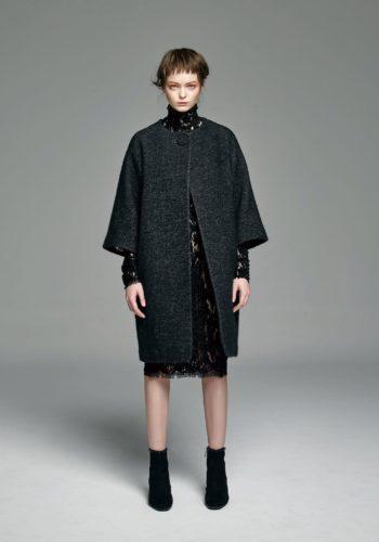 小羊毛繭型大衣/植絨蕾絲高領小禮服