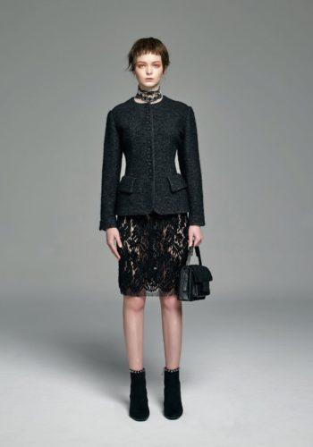 小羊毛合身排釦外套/植絨蕾絲窄裙/羊皮草手提肩背包