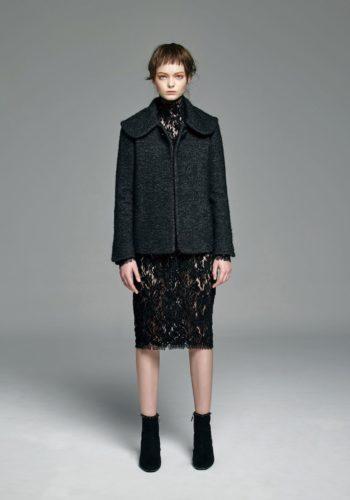 小羊毛大翻領外套/植絨蕾絲高領小禮服