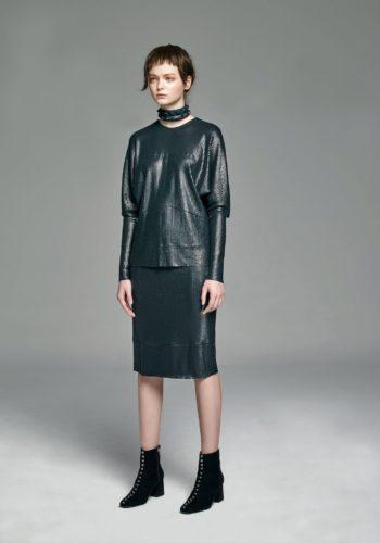 針織亮片連袖上衣/針織亮片高腰窄裙