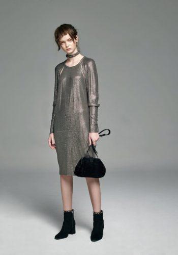 針織亮片削肩縷空小禮服/羊皮草肩背手提包