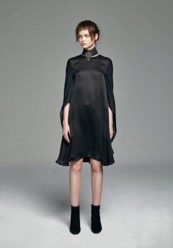 雪紡紗造型飄袖小禮服
