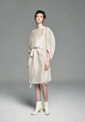 野蠶絲弧形袖上衣/野蠶絲反折綁帶裙