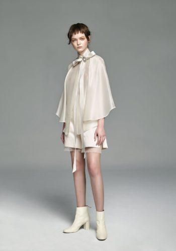 野蠶絲造型飄袖襯衫/野蠶絲高岔短褲